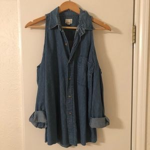 Vintage cold shoulder denim shirt